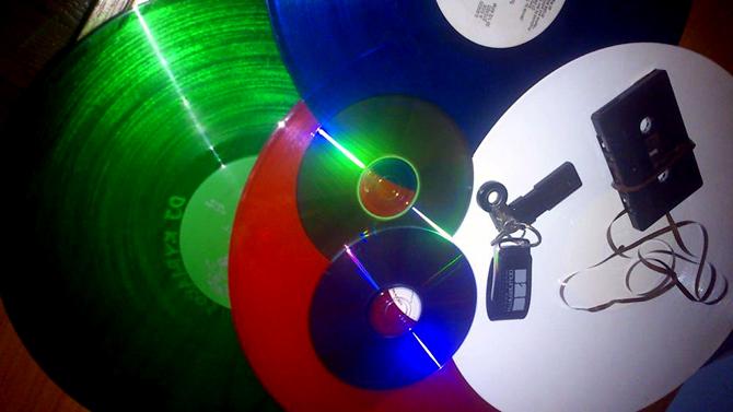 tape vinyl cd stick