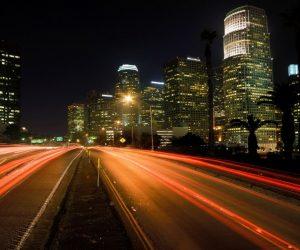 City at night road